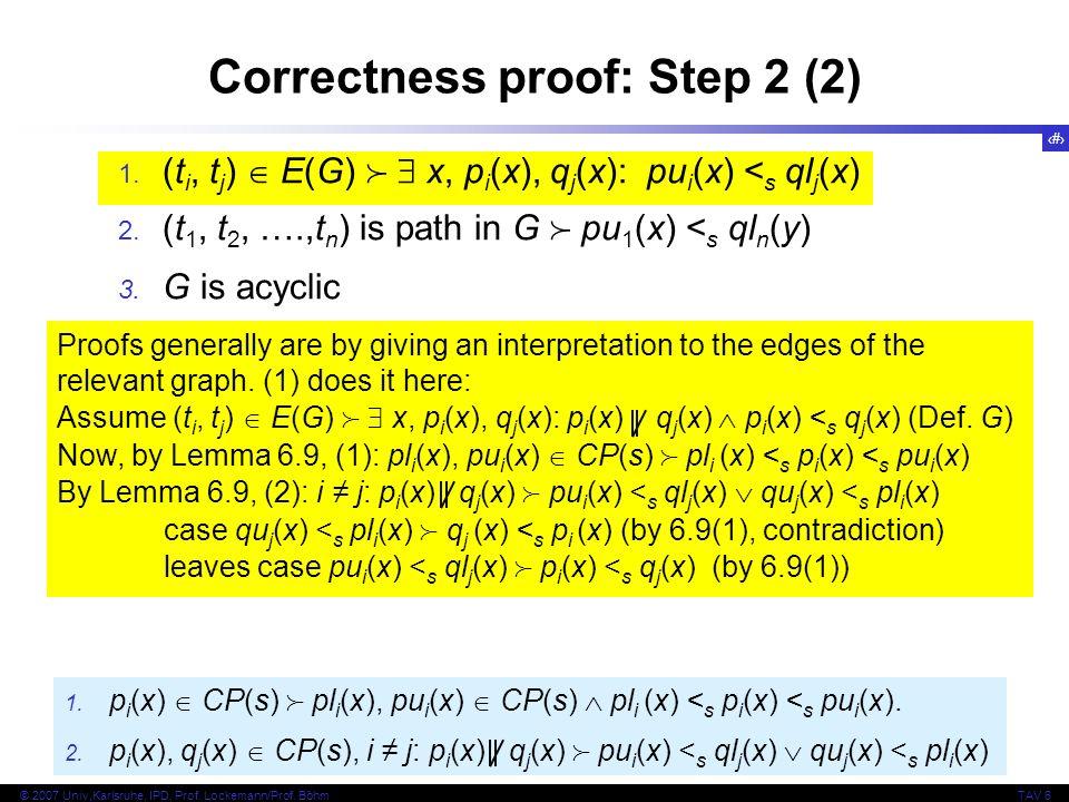 Correctness proof: Step 2 (2)