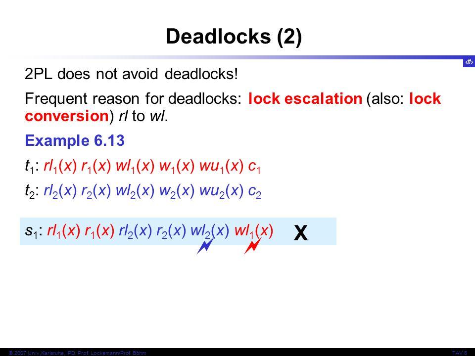 Deadlocks (2) X   2PL does not avoid deadlocks!