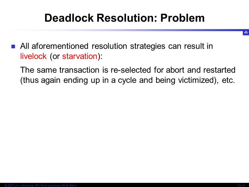 Deadlock Resolution: Problem