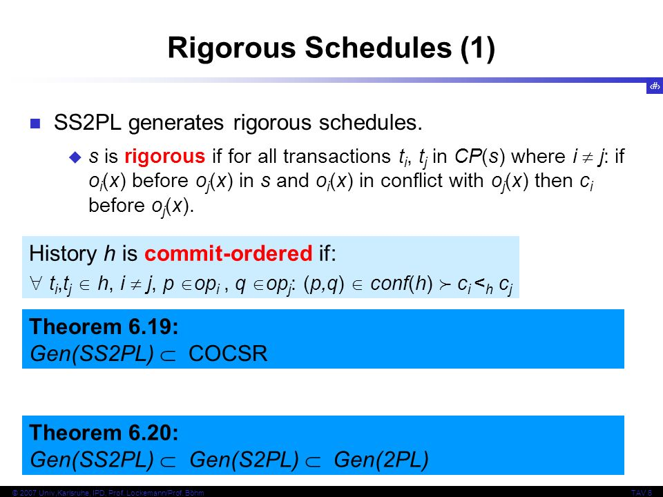 Rigorous Schedules (1) SS2PL generates rigorous schedules.