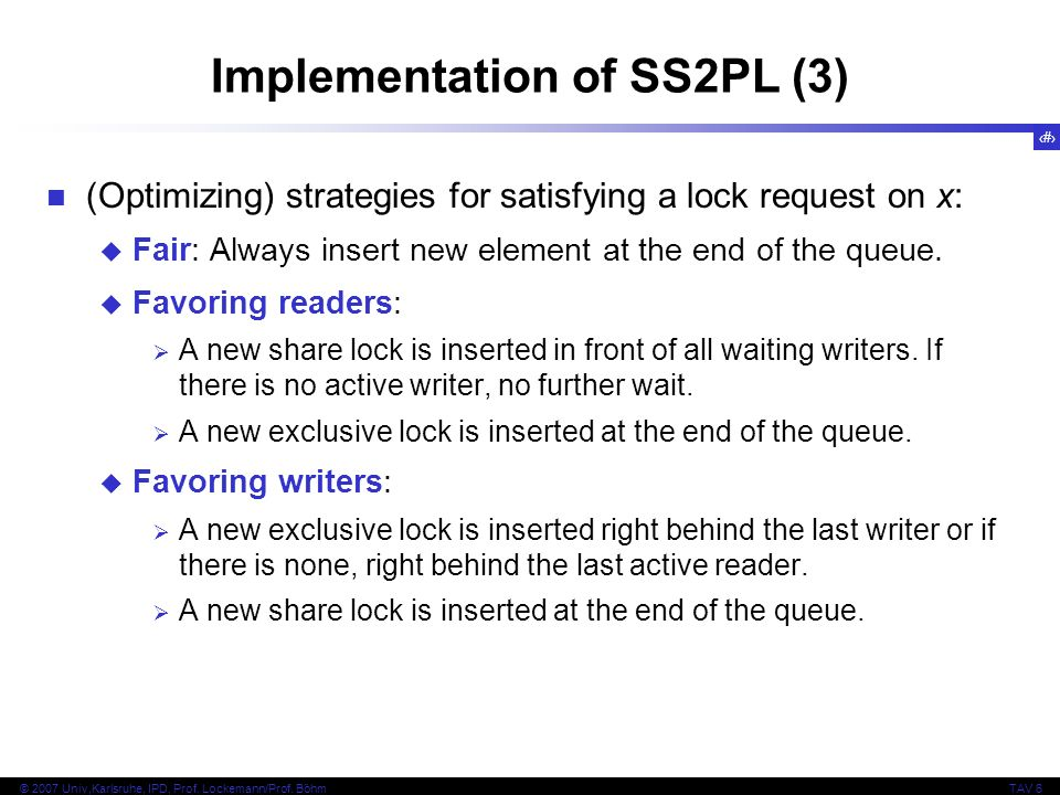 Implementation of SS2PL (3)