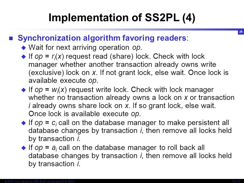 Implementation of SS2PL (4)