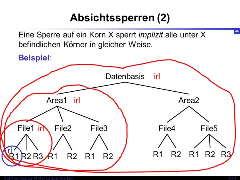 Absichtssperren (2) Eine Sperre auf ein Korn X sperrt implizit alle unter X befindlichen Körner in gleicher Weise.