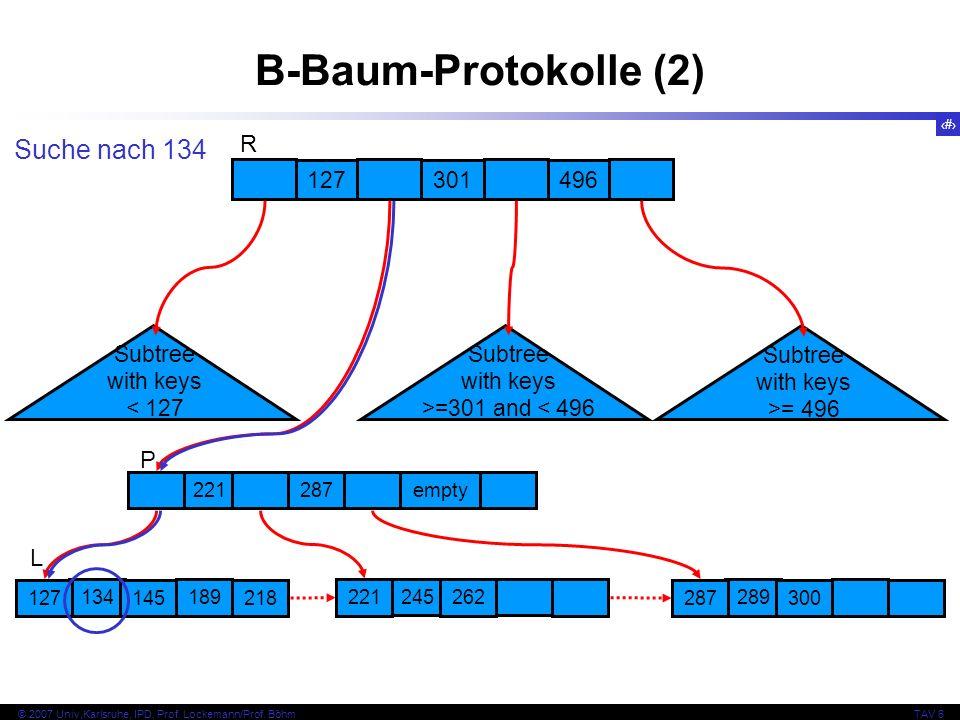 B-Baum-Protokolle (2) Suche nach 134 R P L 127 301 496