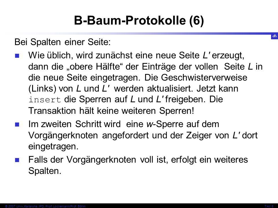 B-Baum-Protokolle (6) Bei Spalten einer Seite: