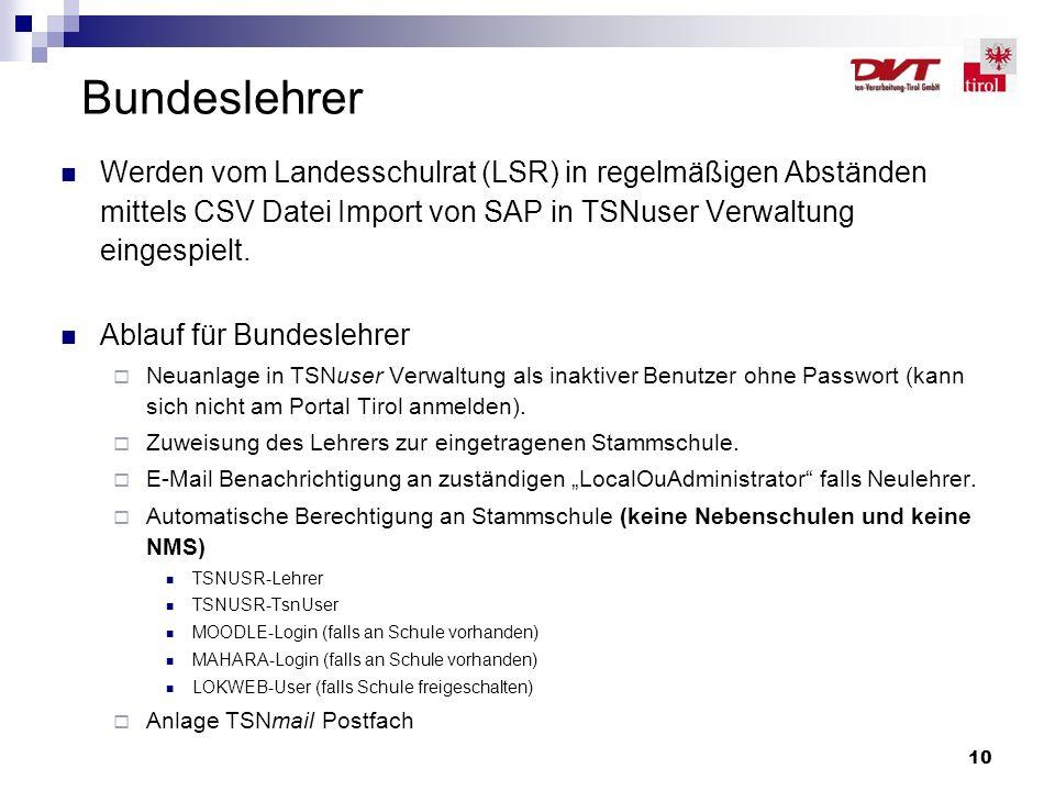 Bundeslehrer Werden vom Landesschulrat (LSR) in regelmäßigen Abständen mittels CSV Datei Import von SAP in TSNuser Verwaltung eingespielt.