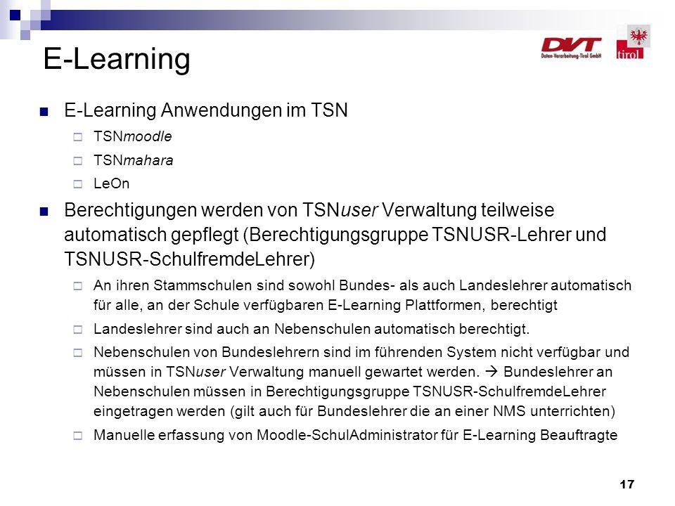 E-Learning E-Learning Anwendungen im TSN