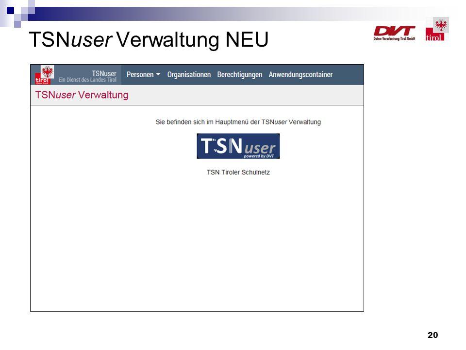 TSNuser Verwaltung NEU