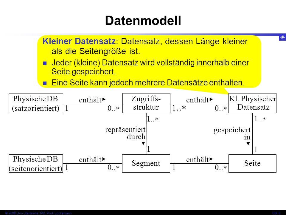 Datenmodell Kleiner Datensatz: Datensatz, dessen Länge kleiner als die Seitengröße ist.