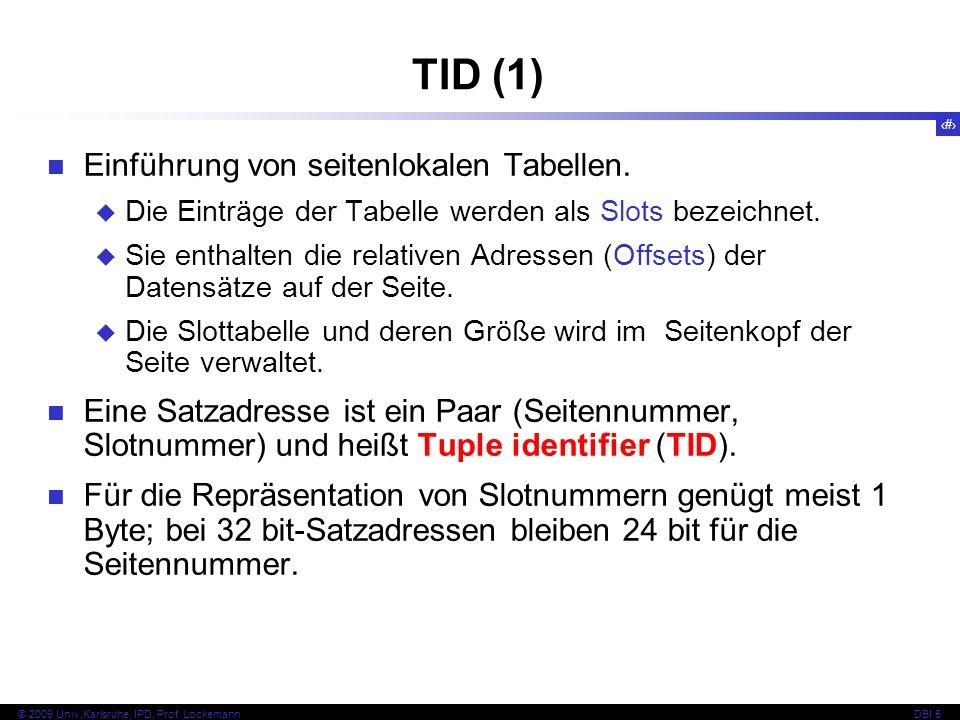 TID (1) Einführung von seitenlokalen Tabellen.