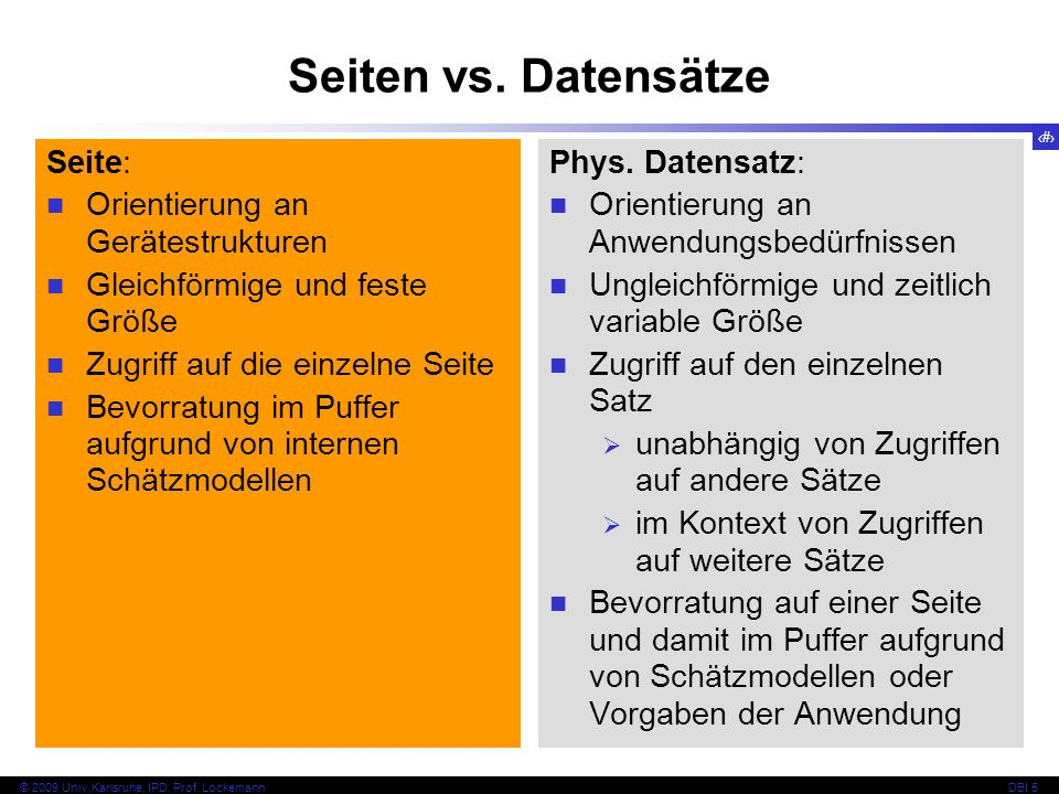 Seiten vs. Datensätze Seite: Orientierung an Gerätestrukturen