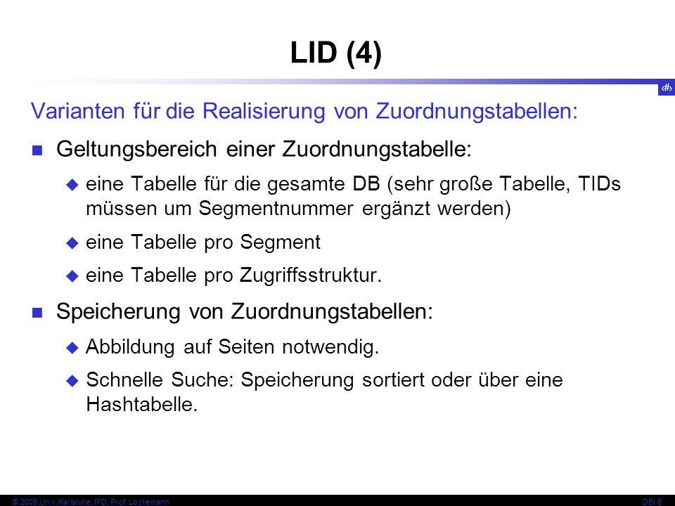 LID (4) Varianten für die Realisierung von Zuordnungstabellen: