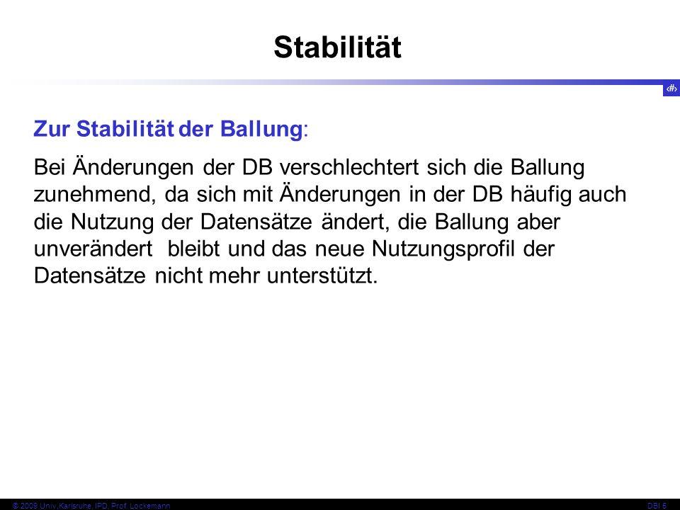 Stabilität Zur Stabilität der Ballung: