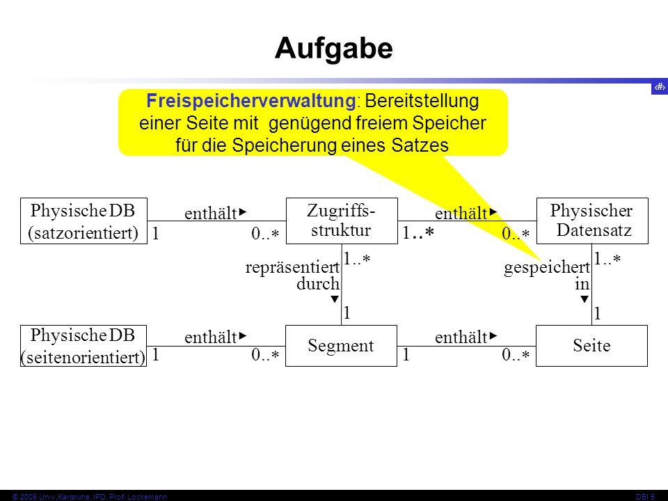 Aufgabe Freispeicherverwaltung: Bereitstellung einer Seite mit genügend freiem Speicher für die Speicherung eines Satzes.
