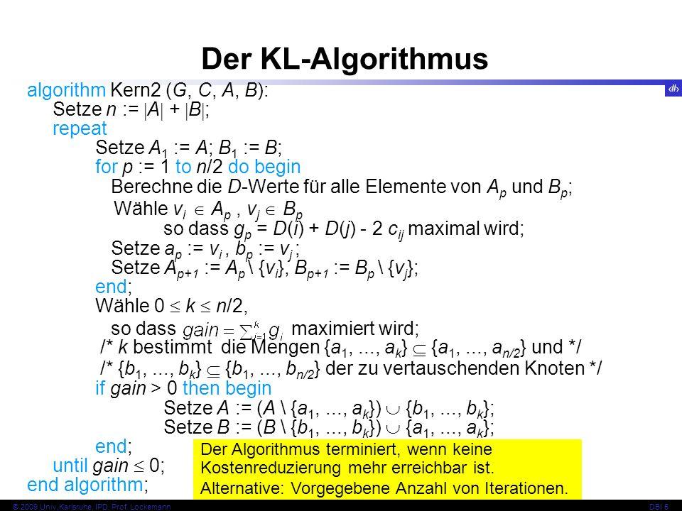 Der KL-Algorithmus Wähle vi  Ap , vj  Bp