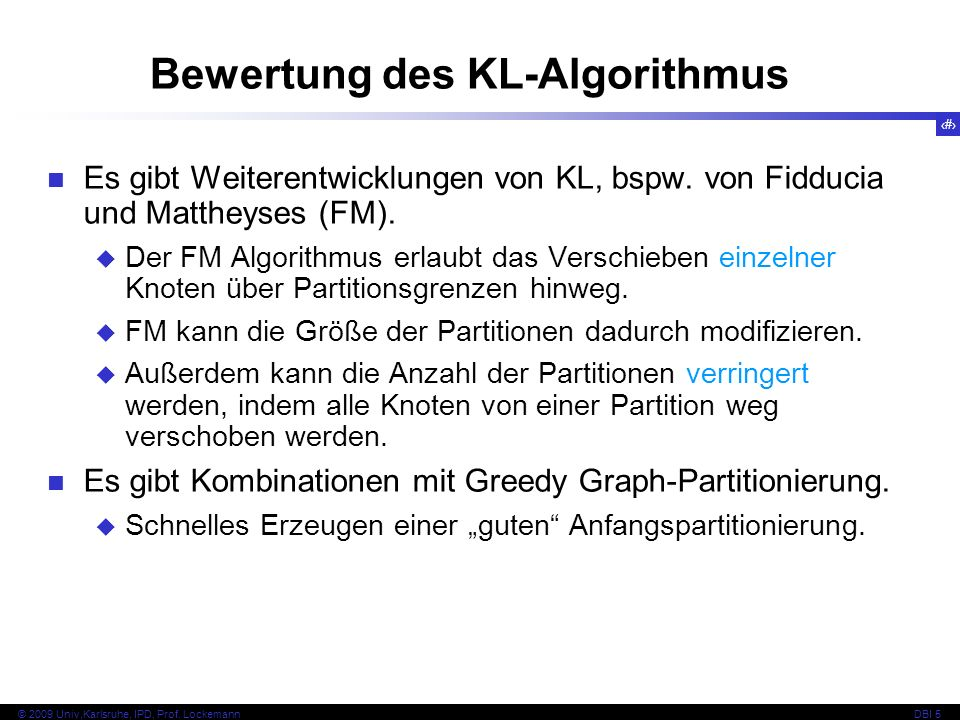 Bewertung des KL-Algorithmus