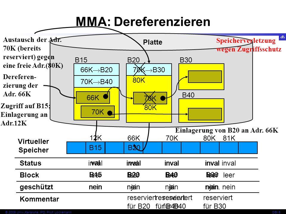 MMA: Dereferenzieren Austausch der Adr. 70K (bereits reserviert) gegen eine freie Adr.(80K) Platte.