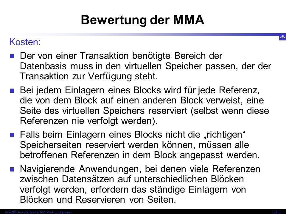 Bewertung der MMA Kosten: