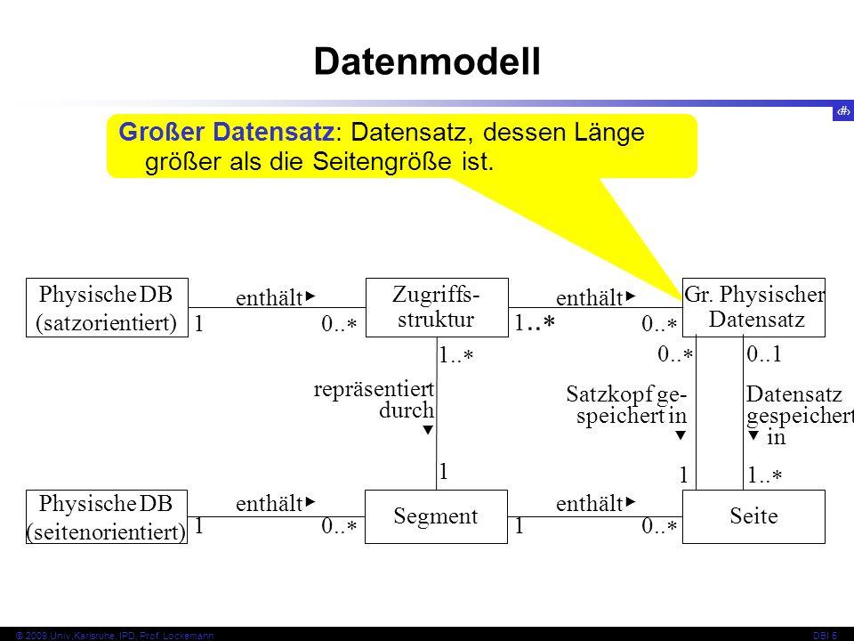 Datenmodell Großer Datensatz: Datensatz, dessen Länge größer als die Seitengröße ist. Physische DB (satzorientiert)