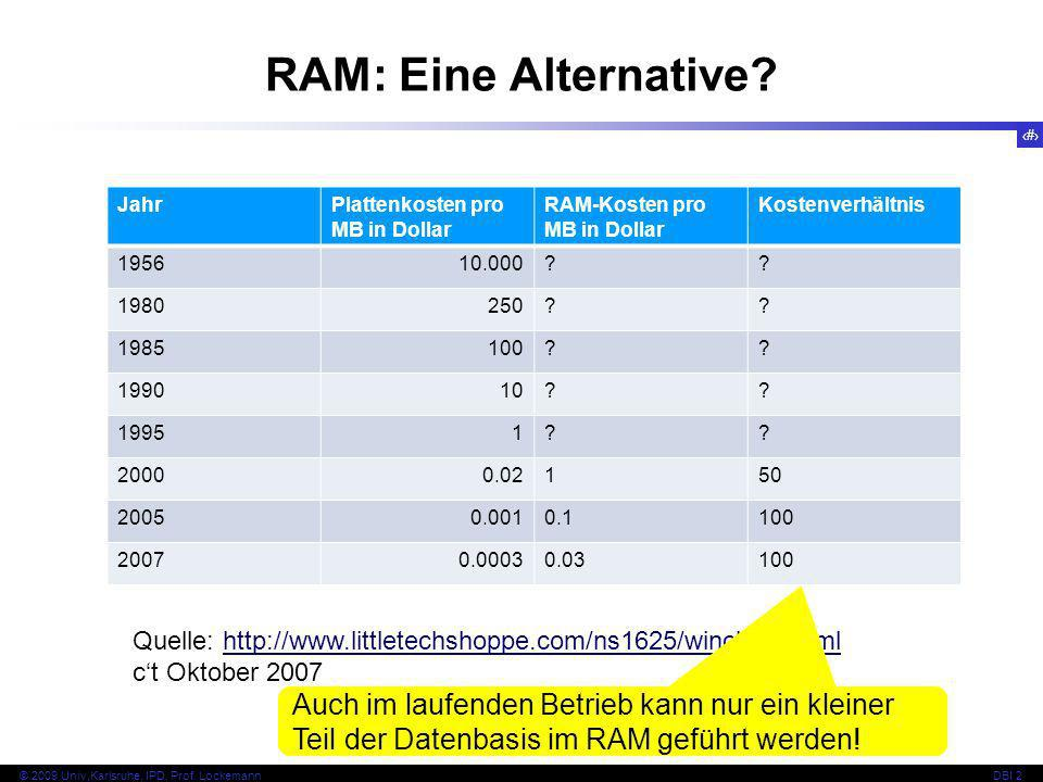 RAM: Eine Alternative Jahr. Plattenkosten pro MB in Dollar. RAM-Kosten pro MB in Dollar. Kostenverhältnis.