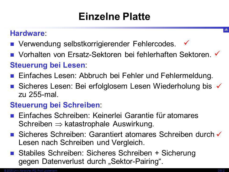 Einzelne Platte Hardware: Verwendung selbstkorrigierender Fehlercodes.