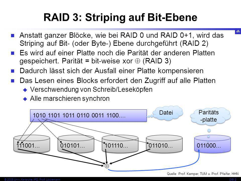 RAID 3: Striping auf Bit-Ebene