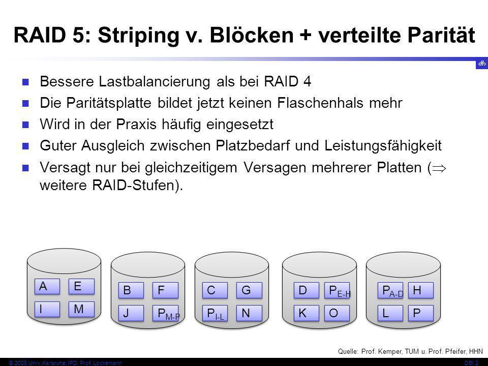 RAID 5: Striping v. Blöcken + verteilte Parität