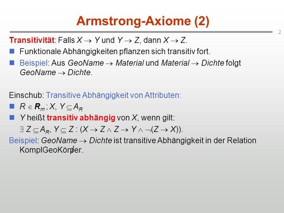 Armstrong-Axiome (2) Transitivität: Falls X  Y und Y  Z, dann X  Z. Funktionale Abhängigkeiten pflanzen sich transitiv fort.