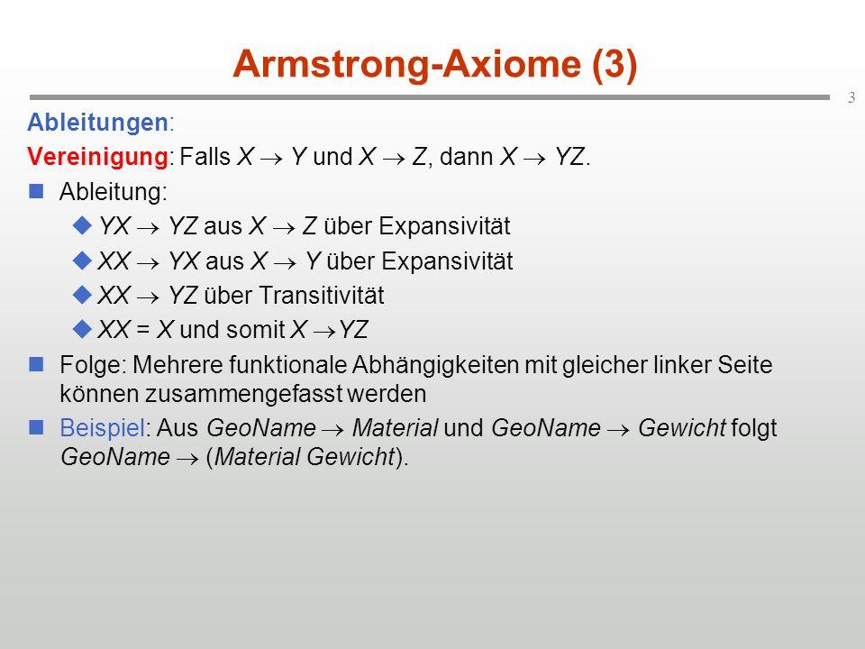 Armstrong-Axiome (3) Ableitungen: