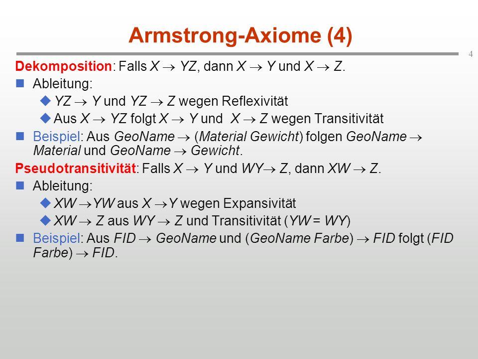 Armstrong-Axiome (4) Dekomposition: Falls X  YZ, dann X  Y und X  Z. Ableitung: YZ  Y und YZ  Z wegen Reflexivität.