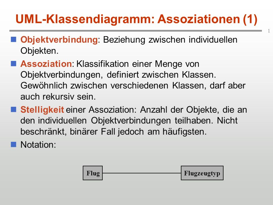 UML-Klassendiagramm: Assoziationen (1)