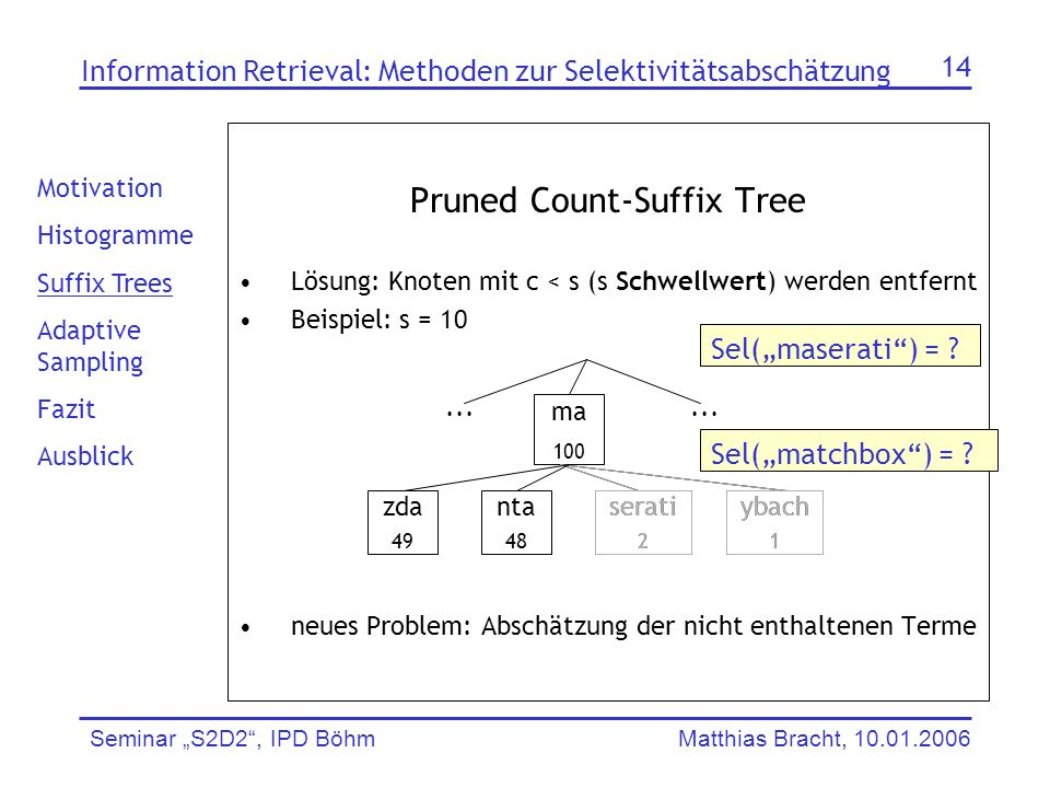 Pruned Count-Suffix Tree