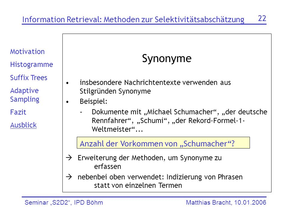 Synonyme Information Retrieval: Methoden zur Selektivitätsabschätzung