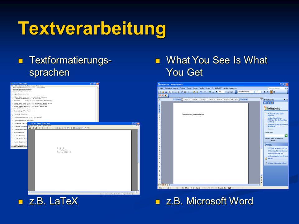 Textverarbeitung Textformatierungs-sprachen z.B. LaTeX