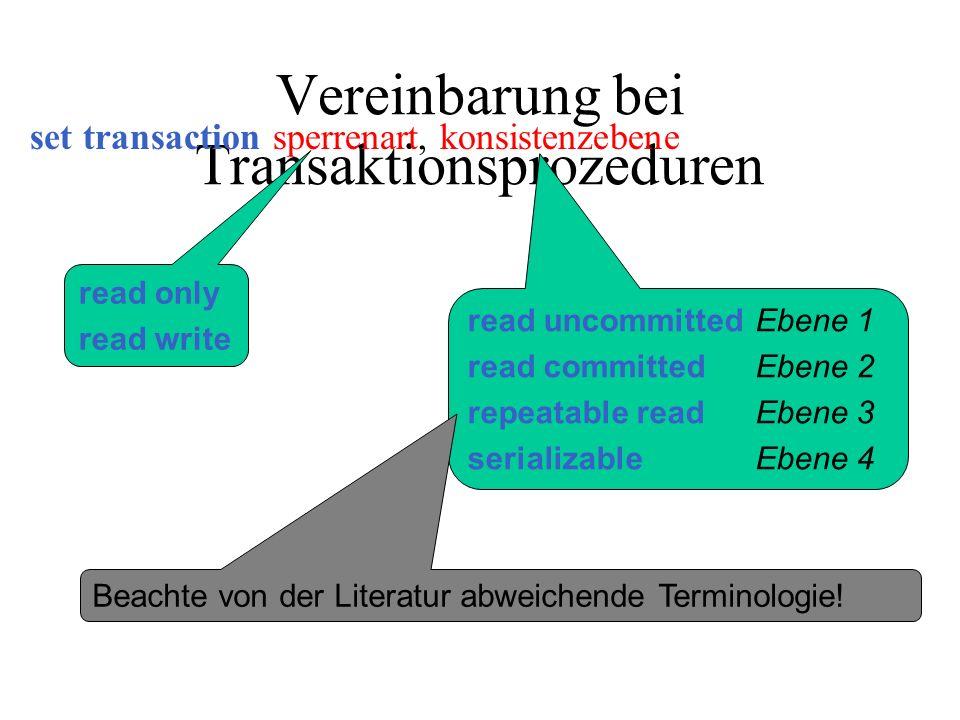 Vereinbarung bei Transaktionsprozeduren