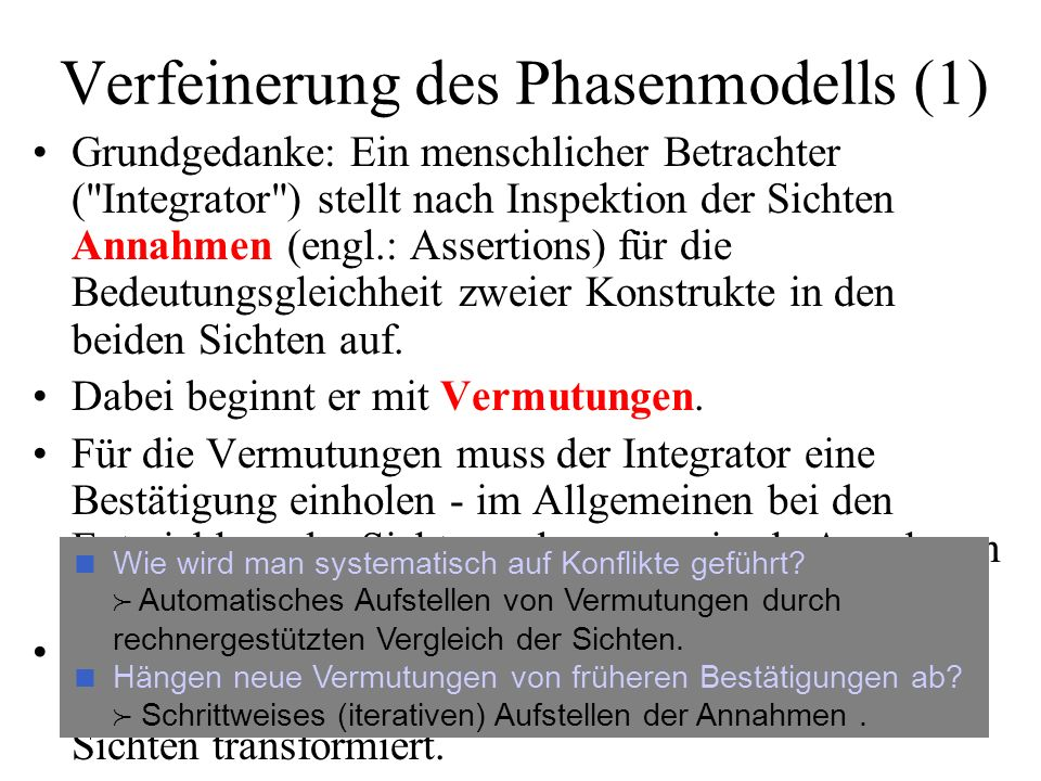 Verfeinerung des Phasenmodells (1)