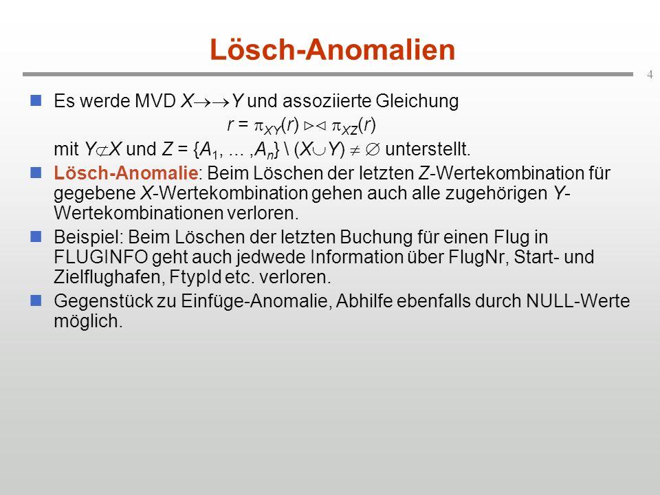 Lösch-Anomalien Es werde MVD XY und assoziierte Gleichung