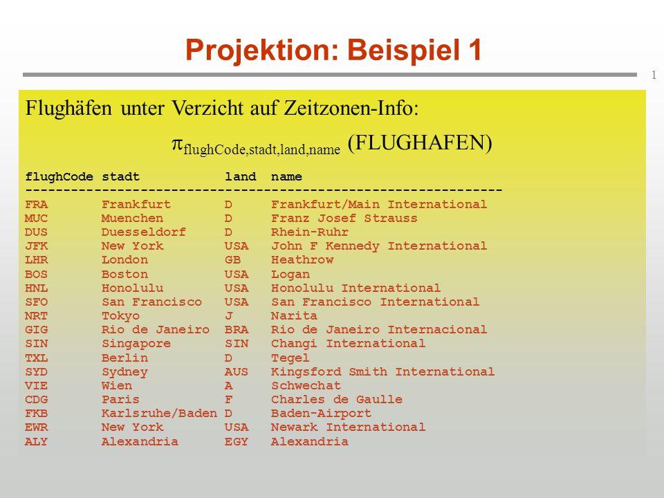 Projektion: Beispiel 1 Flughäfen unter Verzicht auf Zeitzonen-Info: