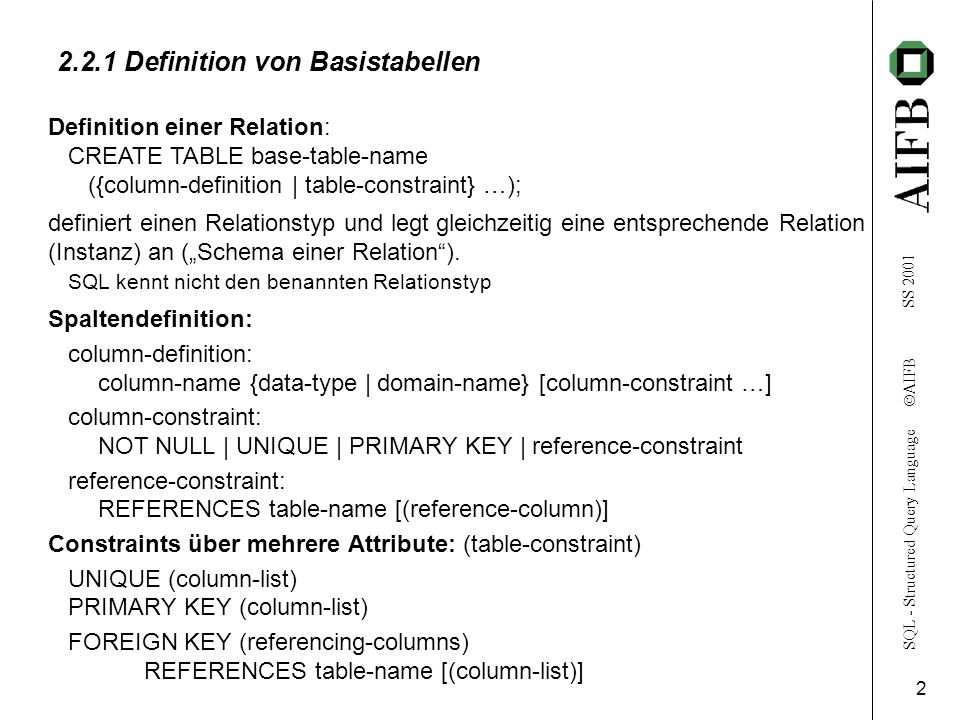 2.2.1 Definition von Basistabellen