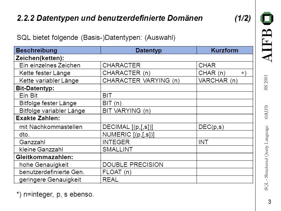 2.2.2 Datentypen und benutzerdefinierte Domänen (1/2)