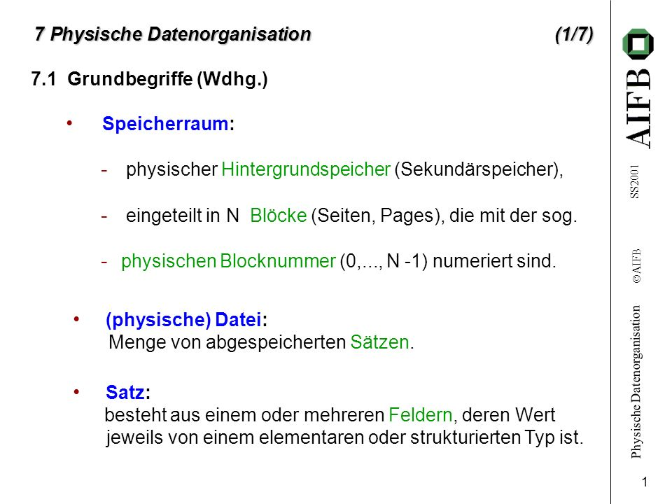7 Physische Datenorganisation (1/7)