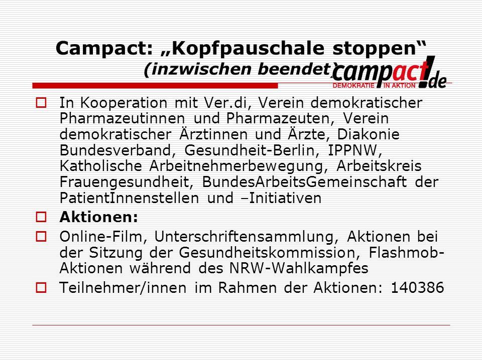 """Campact: """"Kopfpauschale stoppen (inzwischen beendet)"""