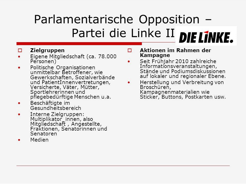 Parlamentarische Opposition – Partei die Linke II