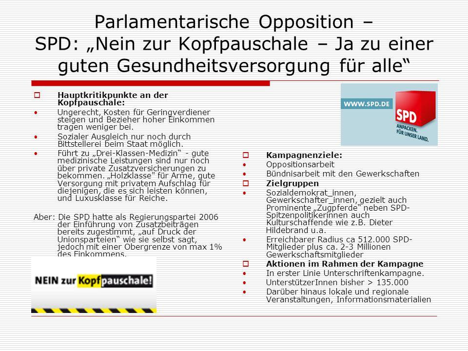 """Parlamentarische Opposition – SPD: """"Nein zur Kopfpauschale – Ja zu einer guten Gesundheitsversorgung für alle"""