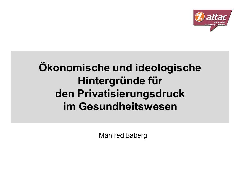 Ökonomische und ideologische Hintergründe für den Privatisierungsdruck im Gesundheitswesen