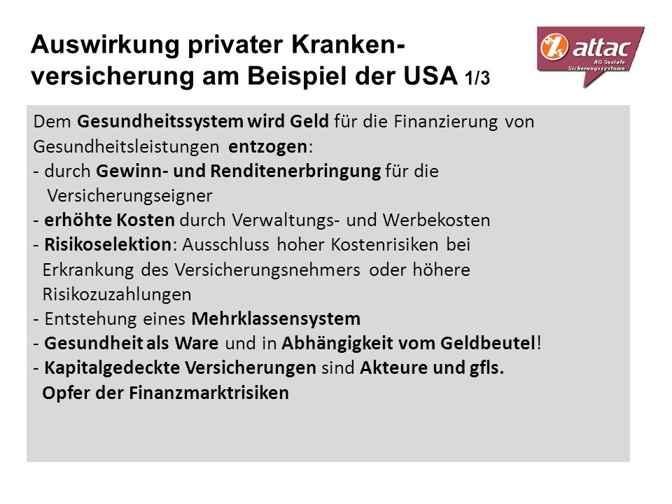 Auswirkung privater Kranken-versicherung am Beispiel der USA 1/3