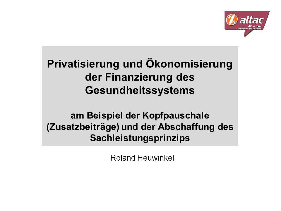 Privatisierung und Ökonomisierung der Finanzierung des Gesundheitssystems am Beispiel der Kopfpauschale (Zusatzbeiträge) und der Abschaffung des Sachleistungsprinzips
