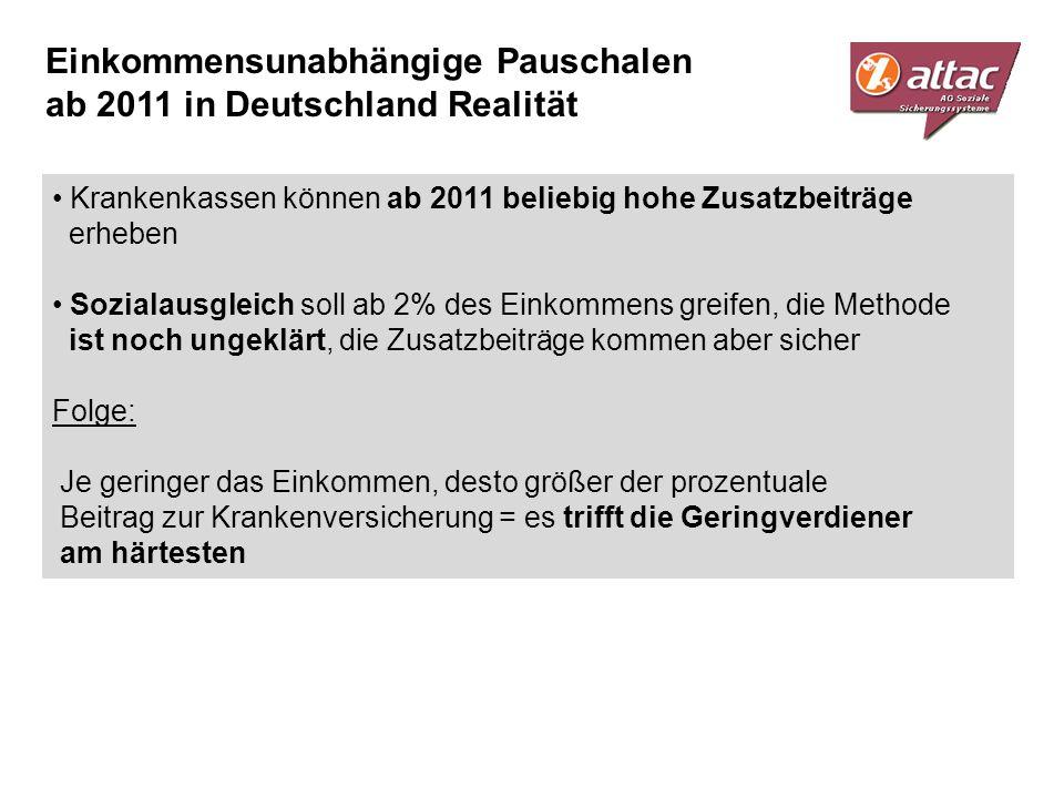Einkommensunabhängige Pauschalen ab 2011 in Deutschland Realität