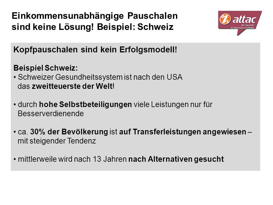 Einkommensunabhängige Pauschalen sind keine Lösung! Beispiel: Schweiz