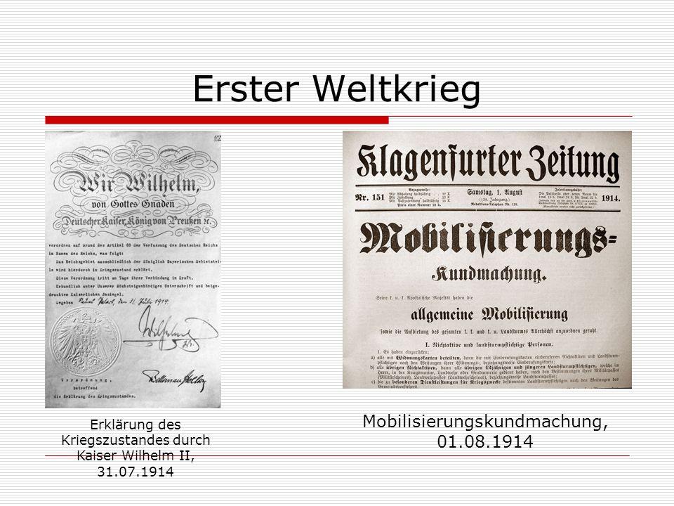 Erster Weltkrieg Mobilisierungskundmachung, 01.08.1914